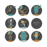 Set of cute dancing monsters,  color illustration, each creature in a circle Stock Images