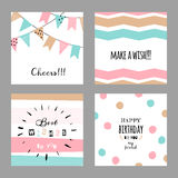 Set with cute decorative cards for birthday Stock Image
