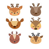 Set of cute deers. Funny doodle animals. Little fawn in cartoon style Stock Photos