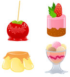 Set of cute desserts. Set of cute delicious desserts icons stock illustration