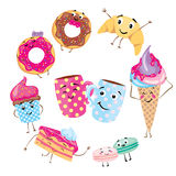 Set of cute desserts. Donuts, muffins, pasta, coffee, tea, cup, cake, ice creams and a croissant. Smiling sweets. Characters. Set of cute desserts. Set of cute royalty free illustration