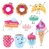 Set of cute desserts. Donuts, muffins, pasta, coffee, tea, cup, cake, ice creams and a croissant. Smiling sweets. Characters. Royalty Free Stock Photos