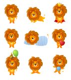 Set of cute different character lion, poses and emotion royalty free illustration