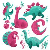 Set of 5 Cute dinosaur color hand drawn textured characters. Dino flat handdrawn clipart. Sketch jurassic reptile.Brachiosaurus. royalty free stock images