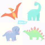 Set of cute dinosaurs. Cartoon style. Stegosaurus, triceratops pterodactyl and brachiosaurus Royalty Free Stock Photos