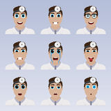 Set of cute doctor emoticons. stock illustration