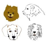 Set of cute dog profiles and silhouettes on a white background. Vector illustration royalty free illustration