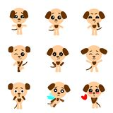 Cute dogs. Dog in kawaii style. Vector set. stock illustration