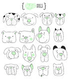 Set of 16 cute dogs doodle .  Sketch dog. Stock Image