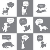 Set of Cute Dogs Silhouette With Speech Bubbles.  Stock Photo