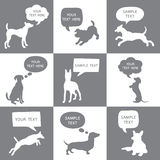 Set of Cute Dogs Silhouette With Speech Bubbles.  Royalty Free Stock Photography