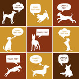 Set of Cute Dogs Silhouette With Speech Bubbles. Stock Photos