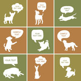 Set of Cute Dogs Silhouette With Speech Bubbles. Royalty Free Stock Photo