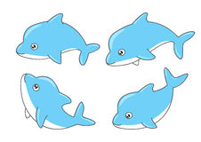 Set of cute dolphins Royalty Free Stock Photo
