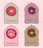 Set of Cute Donut Tags for design Royalty Free Stock Photography