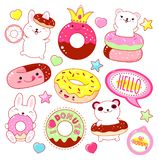 Set of cute donuts icons stock image