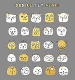 Set of cute doodle cats. Funny animals. Isolated cat Stock Image