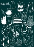 Set of cute doodle cats. Outline animal art royalty free illustration