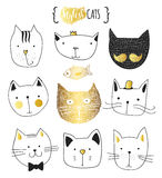 Set of cute doodle cats. Sketch cat. Cat handmade print Stock Photo
