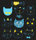 Set of cute doodle cats. Sketch cat. Cat handmade print Royalty Free Stock Photos