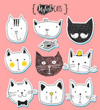 Set of cute doodle cats. Sketch cat. Cat handmade print Stock Photos