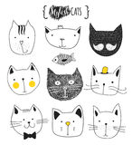 Set of cute doodle cats. Sketch cat. Cat handmade print Royalty Free Stock Photo