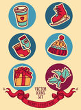 Set of cute doodle christmas icons Stock Photography
