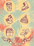 Set of cute doodle christmas icons Royalty Free Stock Photography