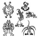 Set cute doodle fantasy monster personage Royalty Free Stock Photography