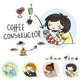 Set of cute doodle girls with cups and desserts. Collection for constructor. Stock Photography