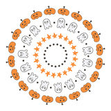 Set of cute doodle, hand drawn halloween borders, frames  on white background Royalty Free Stock Photo