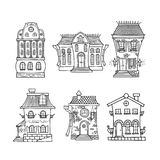 Set of cute doodle houses. Stock Photography