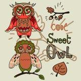 Set of cute doodle owls Stock Photos