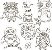 Set of cute doodle owls Stock Photography