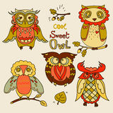 Set of cute doodle owls Stock Image