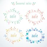 Set of cute doodle sale banners. Vector illustration Royalty Free Stock Photo