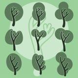 Set of cute doodle trees, original cartoon tree doodles, vector Royalty Free Stock Photos