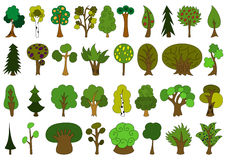 Set of cute doodle trees, tree doodles isolated Royalty Free Stock Photo