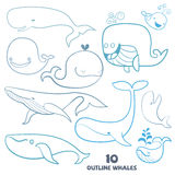Set of cute doodle Whale Characters. Stock Image