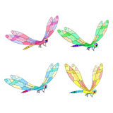 Set of cute a dragonfly flies. vector illustration Royalty Free Stock Photos