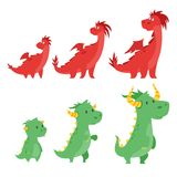 Set of cute dragons Stock Images