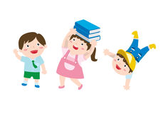 A Set Of Cute Drawing Of A Happy Children vector illustration