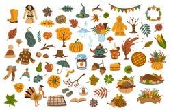 Set of cute drawn autumn fall thanksgiving seasonal items. Collection set of cute drawn autumn fall thanksgiving seasonal items stock illustration