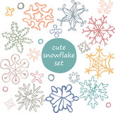 Set of cute drawn by hand snowflakes Royalty Free Stock Photos