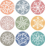 Set of cute drawn by hand snowflakes Royalty Free Stock Images