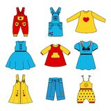 Set of cute dresses for the little girl. Collection of clothing in  linear style for the child. Vector outline  icons Stock Photos