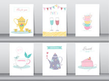 Set of cute drinking and tea time poster concept Stock Images