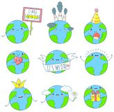 Set of cute Earth icons in kawaii style royalty free stock photo