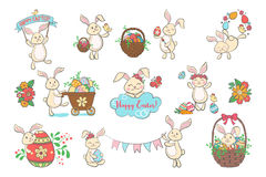 Set of cute Easter bunnies. Royalty Free Stock Photos