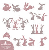 Set of cute Easter bunnies. Vector templates silhouettes of different rabbits in motion Stock Photography